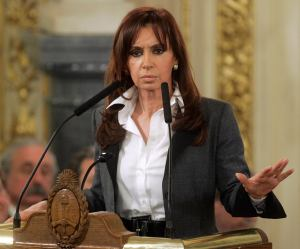 Argentina's President Fernandez de Kirchner gestures during a ceremony in Buenos Aires